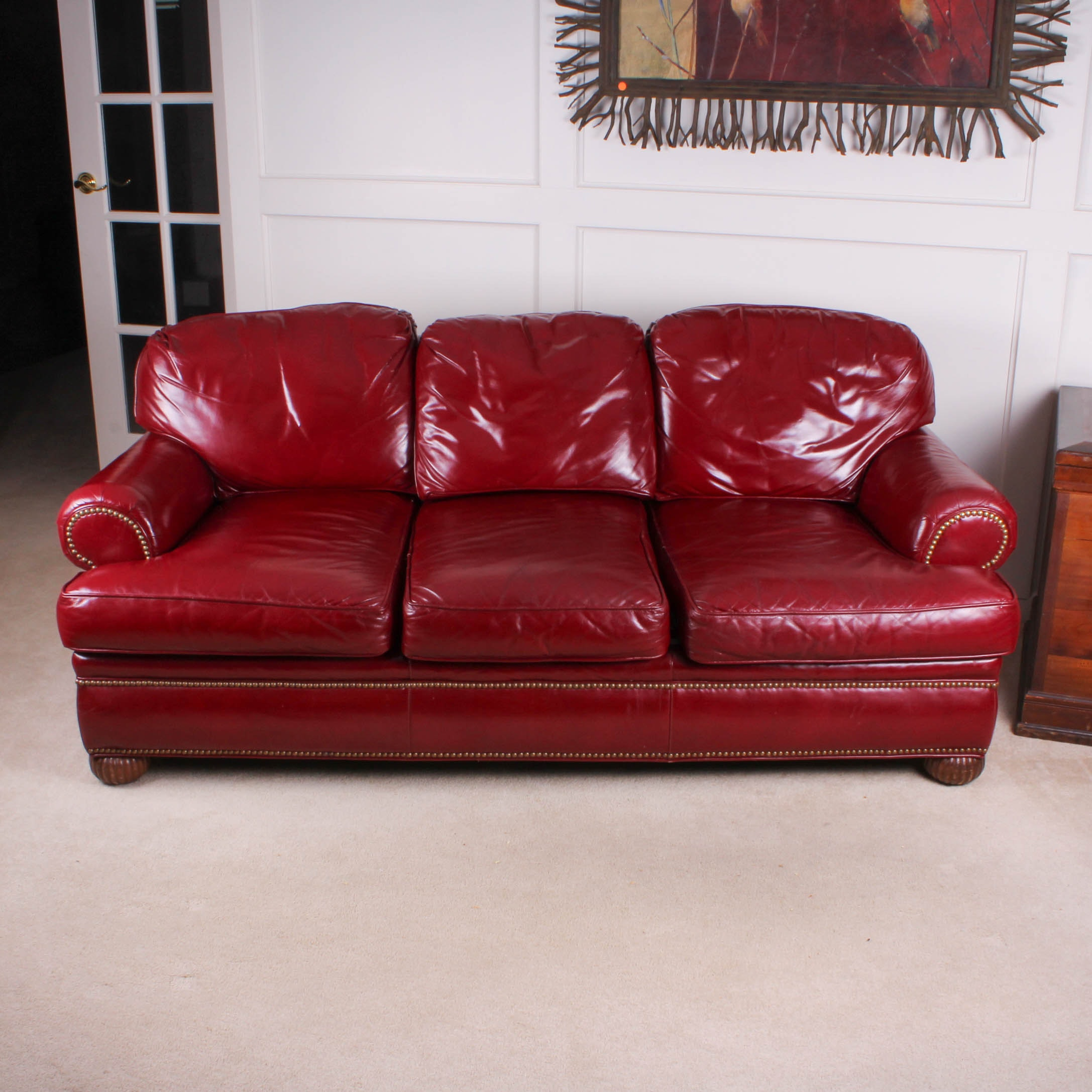 Traditional Red Leather Sofa By Pearson ...