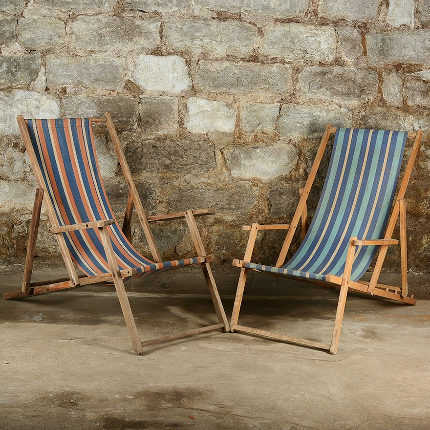 Vintage Striped Folding Beach Chairs
