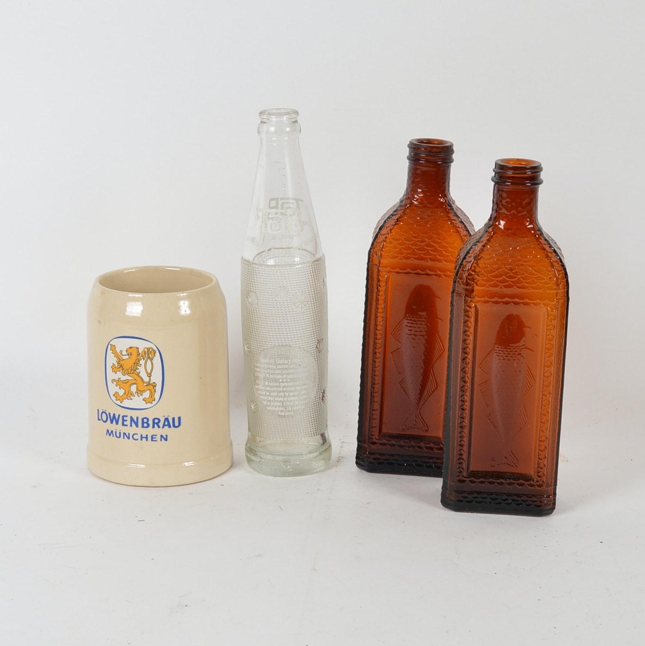 Vintage Glassware and Beer Stein Mug