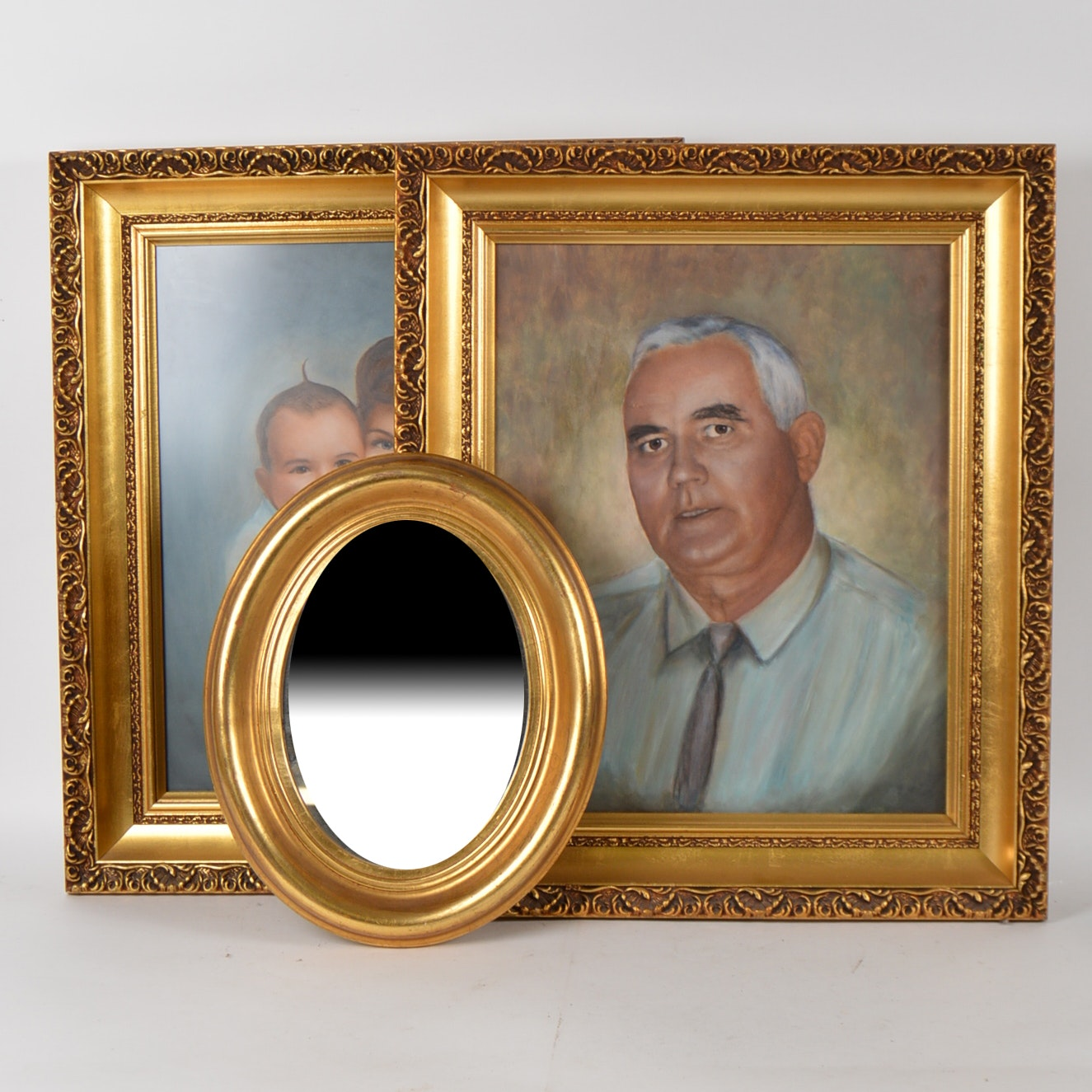 Vintage Gilt Framed Paintings and Oval Wall Mirror