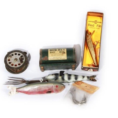 Vintage fishing gear auction used fishing equipment in for Who sells fishing license near me