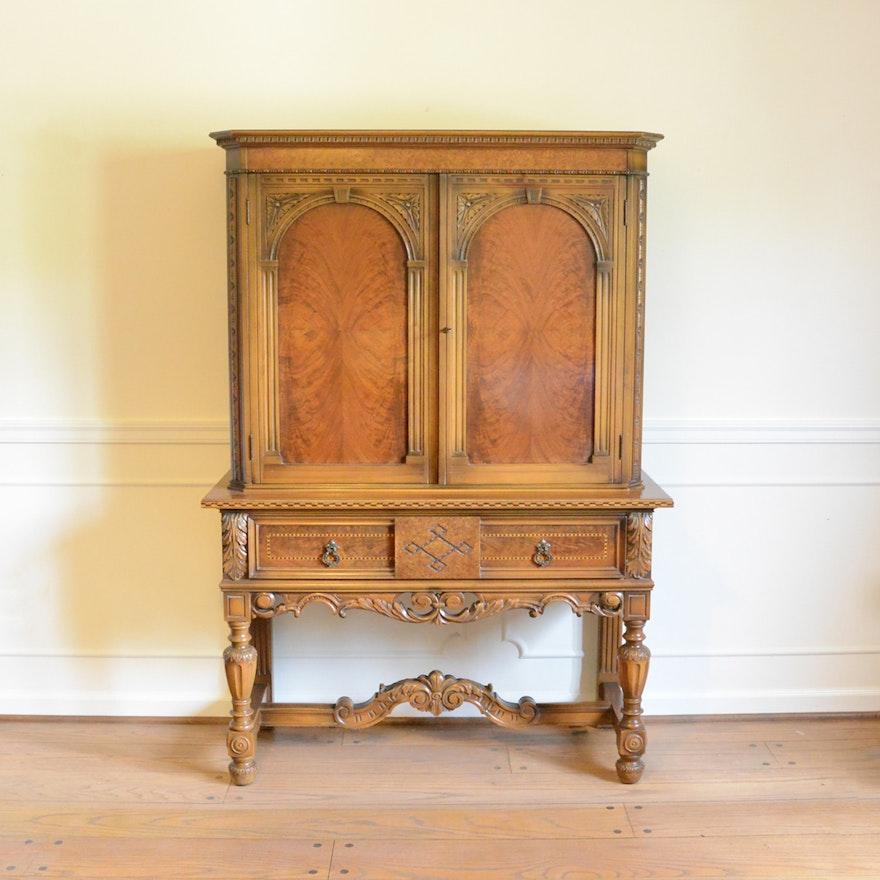 Vintage Robert W. Irwin Italian Renaissance Revival Style Walnut Cabinet ... - Vintage Robert W. Irwin Italian Renaissance Revival Style Walnut
