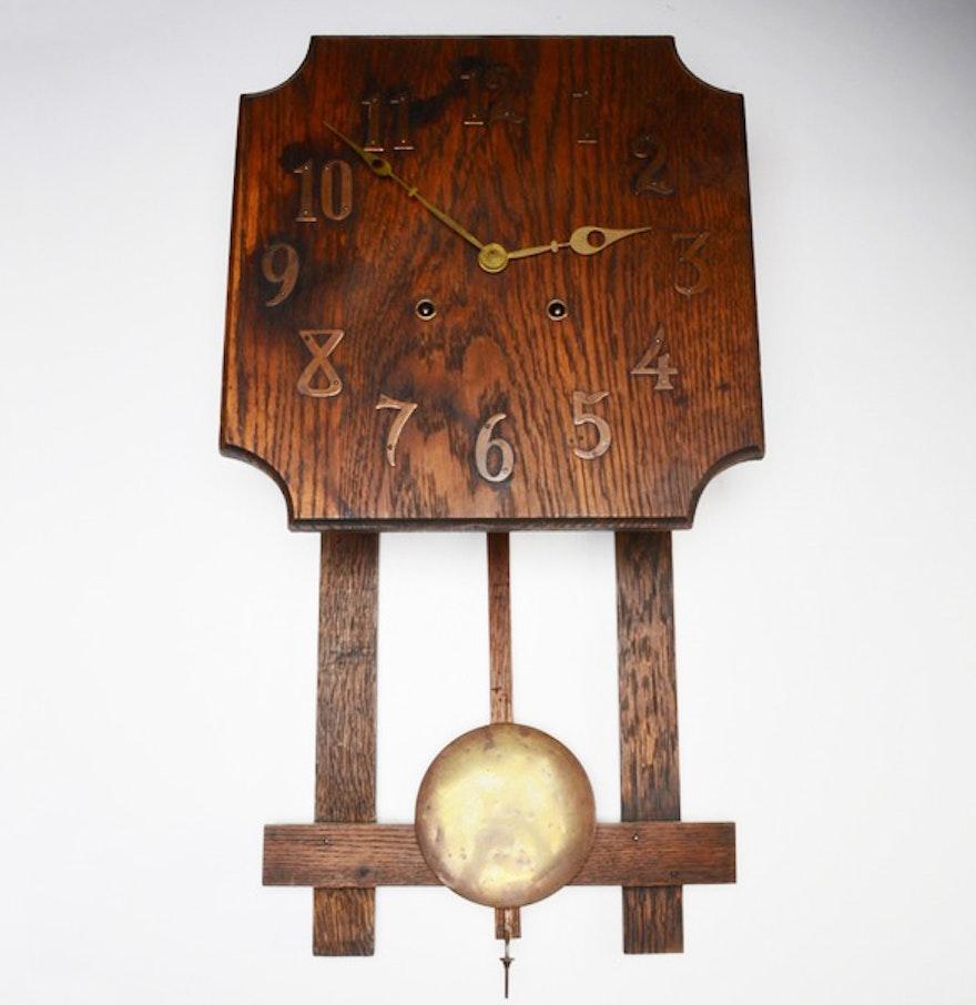 Vintage oak mission style wall clock ebth vintage oak mission style wall clock amipublicfo Gallery
