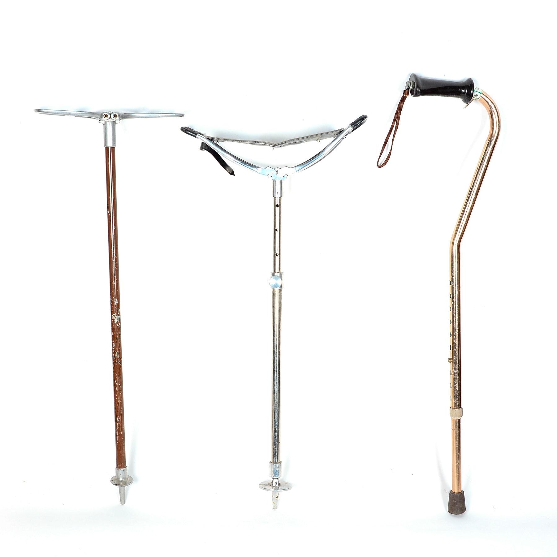 Vintage Portable Seat and Walking Sticks