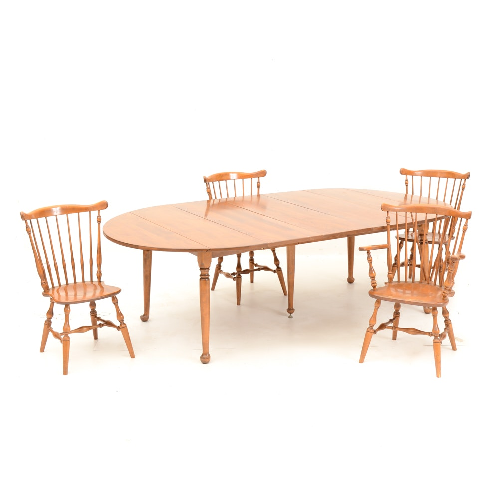 Ethan Allen Maple Drop Leaf Dining Table And Chairs Ebth