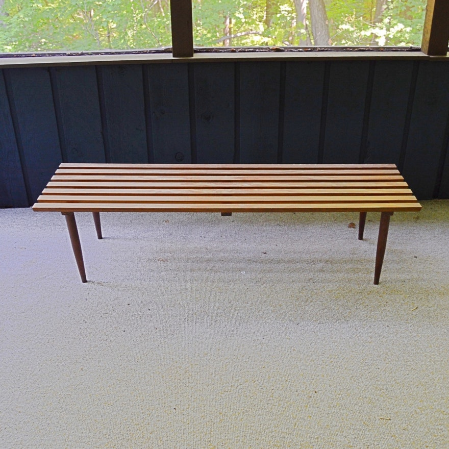 Mid Century Modern Wood Slatted Bench Ebth