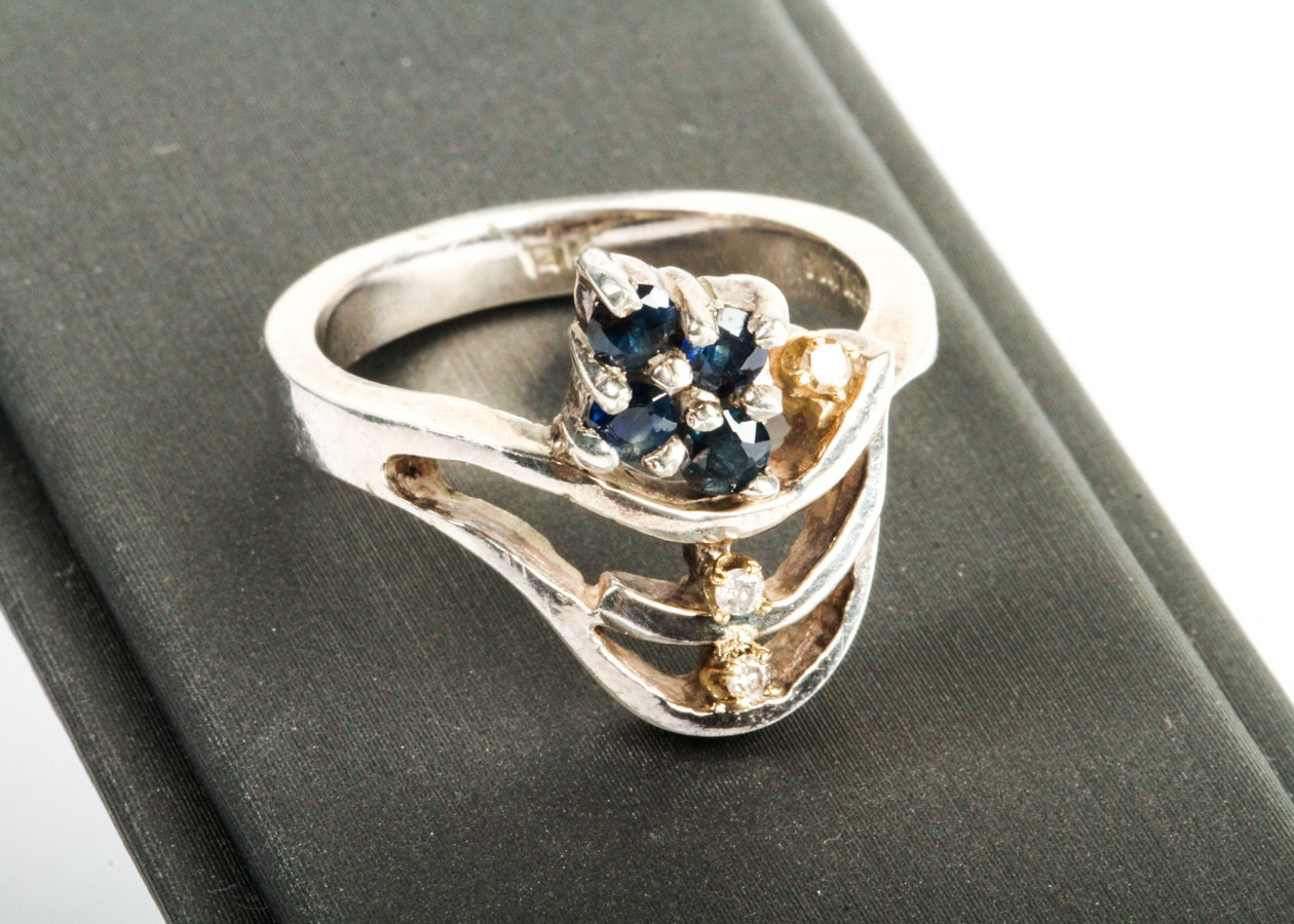 14K Yellow Gold and Sterling Sapphire Ring