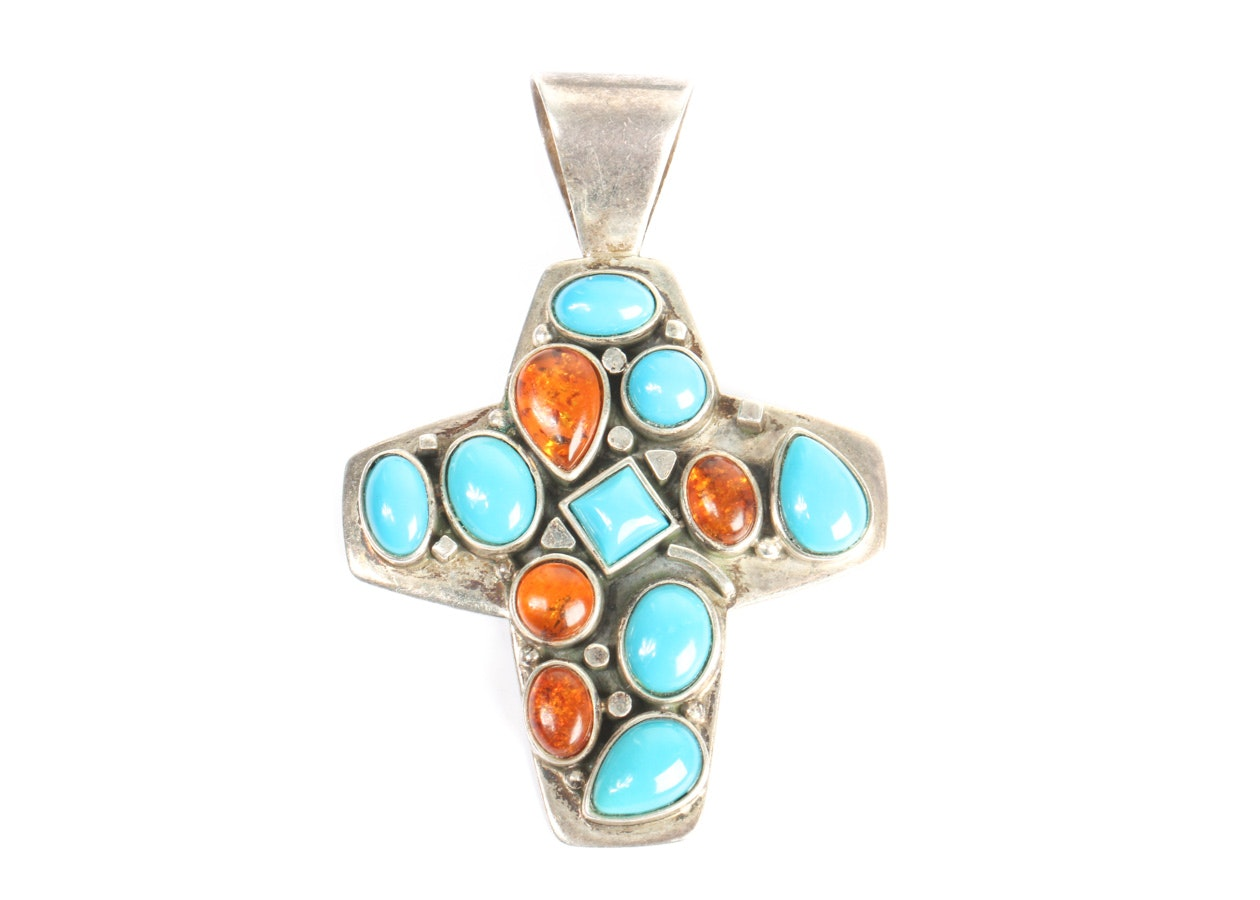 Desert Rose Trading Synthetic Turquoise and Amber Cross Pendant
