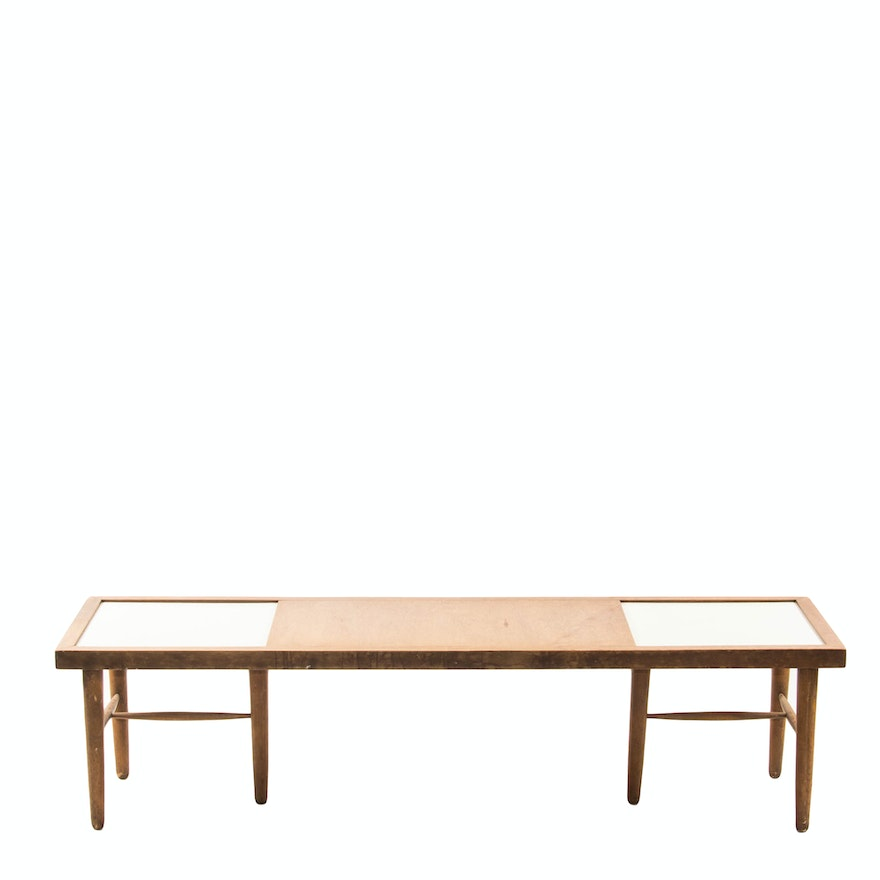 Wood Coffee Table With White Formica Inlays