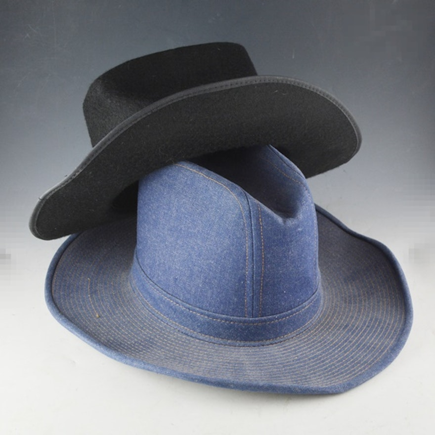 Men s Levis Strauss   Co. Denim Hat and Black Felt Cowboy Hat   EBTH 28813672be4