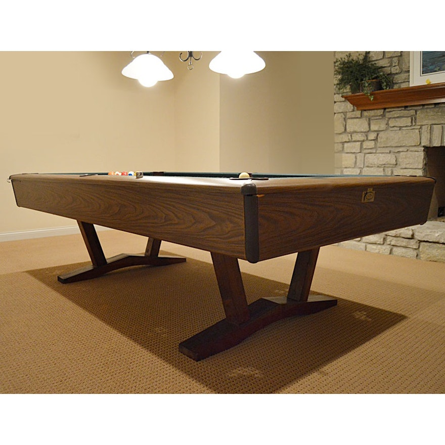 Mid Century Cue Master Pool Table With Accessories EBTH - Cue master pool table