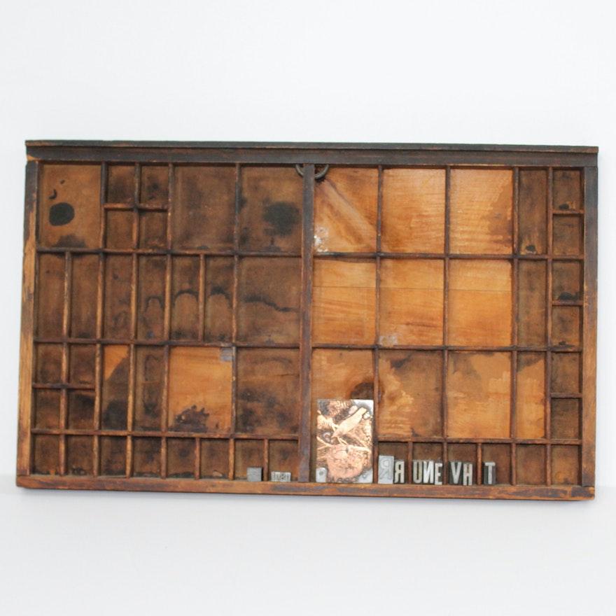 Antique Letterpress Drawer and Several Blocks