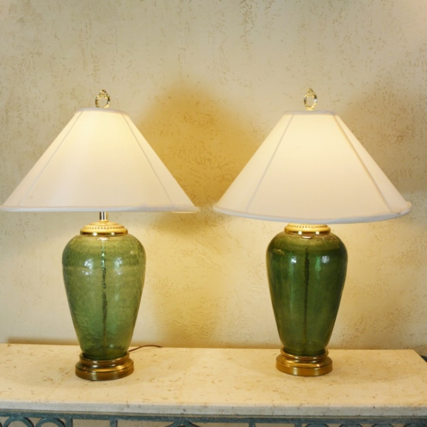 Pair of alsy loden crackle glass table lamps ebth pair of alsy loden crackle glass table lamps aloadofball Images