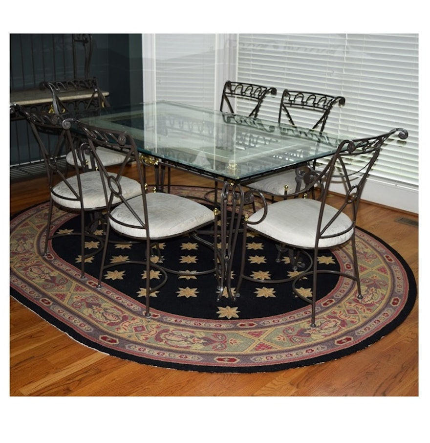 Glass Top Dining Table With Metal Base And Six