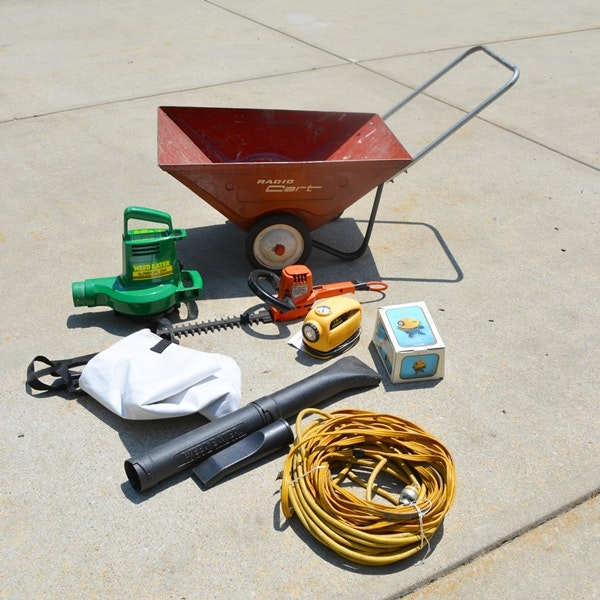 Vintage Radio Garden Cart and Electric Garden Tools EBTH