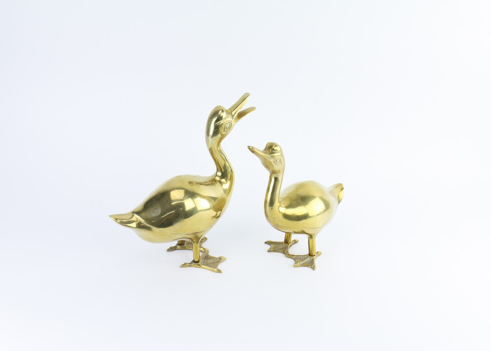 Pair of Brass Duck Sculptures