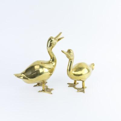 Pair of Brass Duck Sculptures