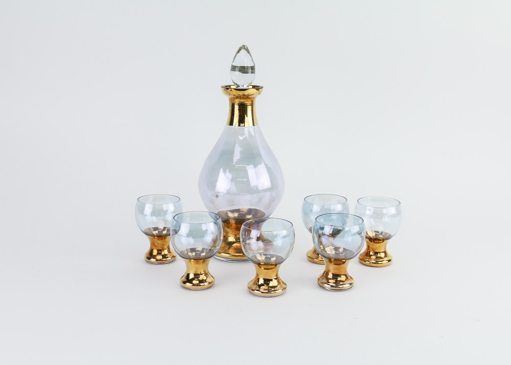 Blefeld Czechoslovakian Liquor Decanter and Six Spirits Glasses