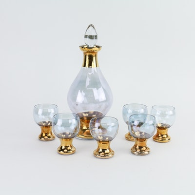 Blefeld Czechoslovakian Liquor Decanter and Six Spirits Glasses