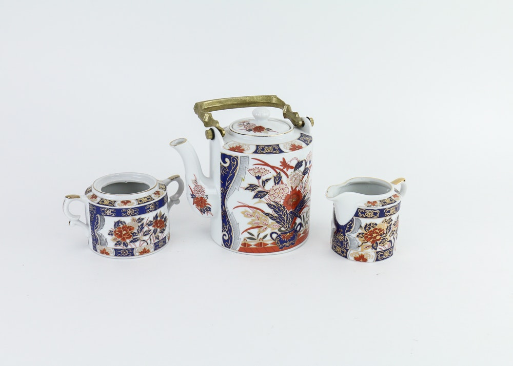 Three-Piece Hand-Decorated China Tea Set