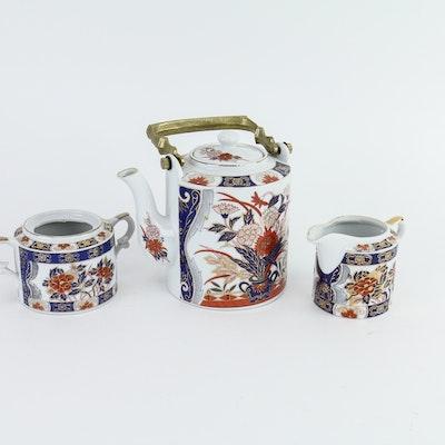Three-Piece Hand-Decorated China Tea Set