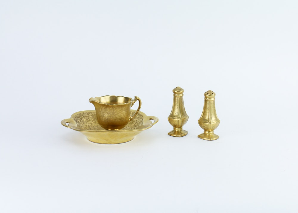 "Pickard Gold Encrusted ""Rose and Daisy"" Tableware"