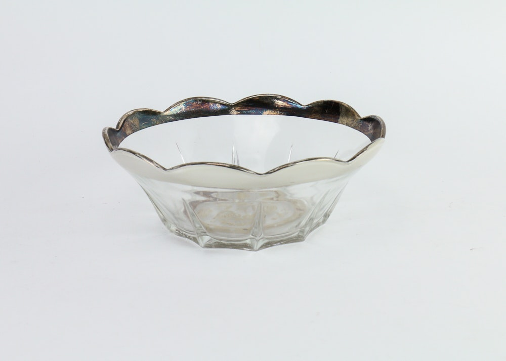 Georges Briard Silver Edged Glass Bowl