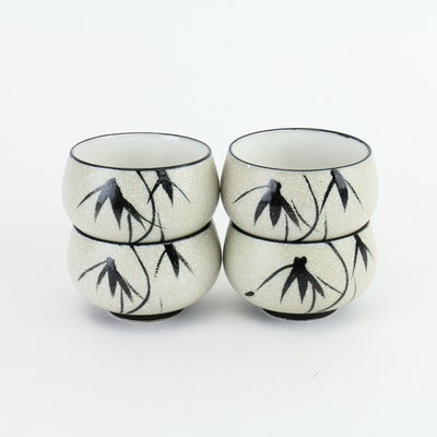 Four Japanese Hand-Painted Tea Bowls