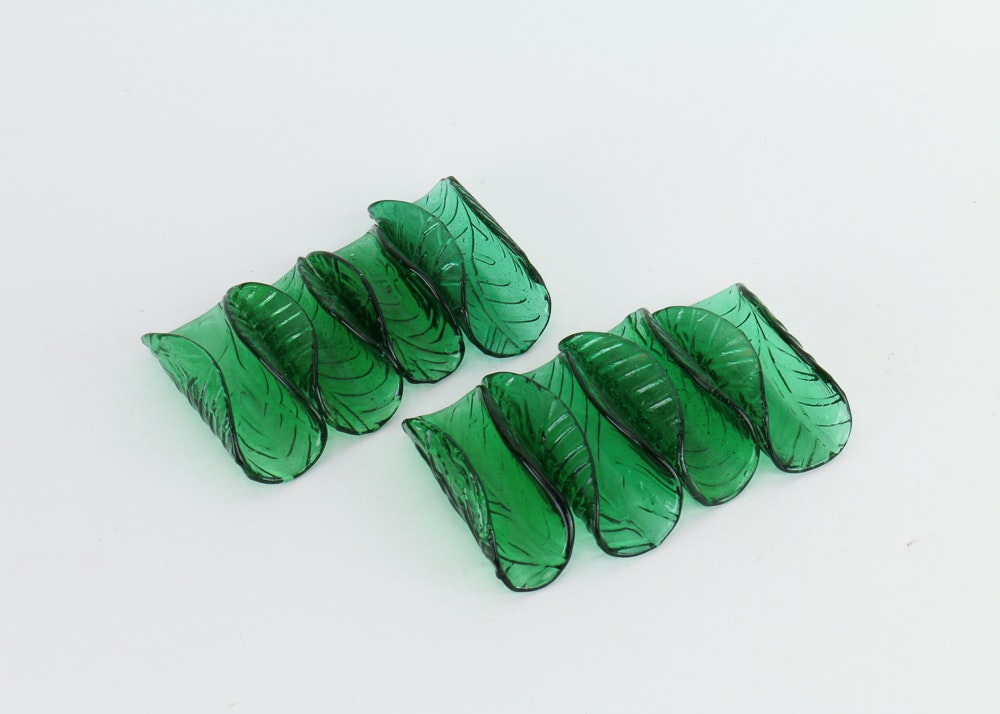 Green Glass Napkin Holders