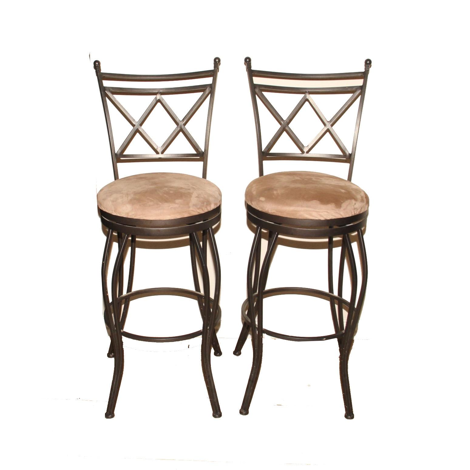 Cheyenne Home Furnishings Pair Of Wrought Iron Bar Stools