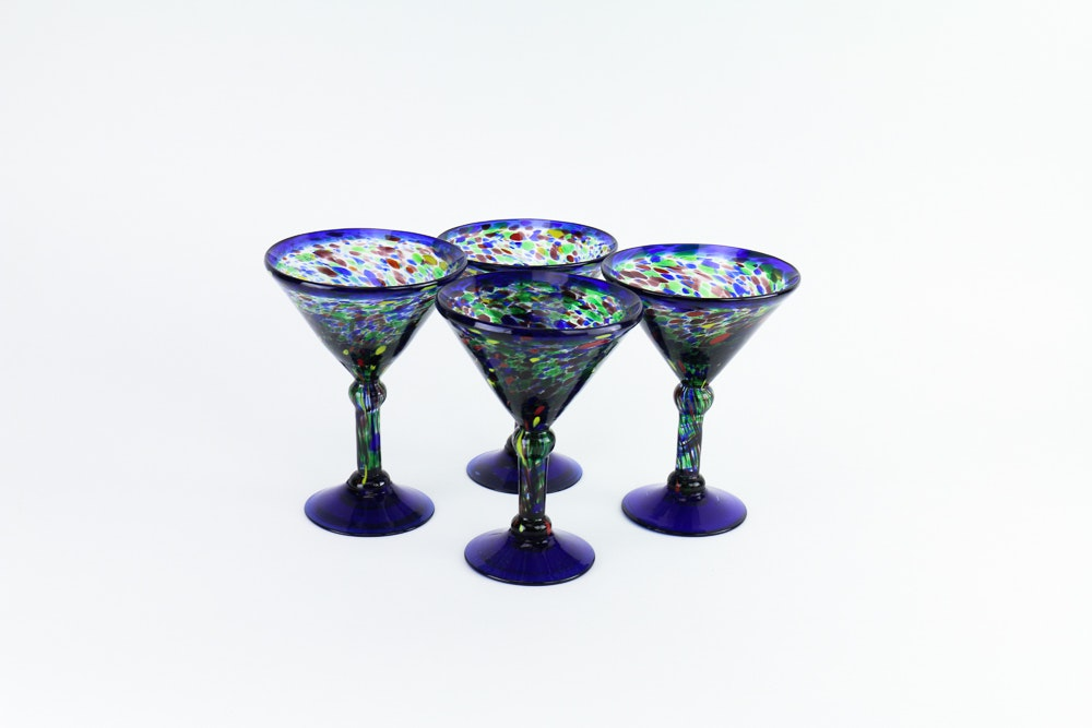 Set of Hand-Blown Martini Glasses