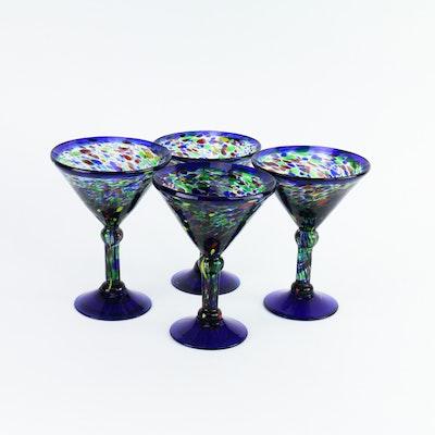 Set of Hand-Blown Martini Glasses
