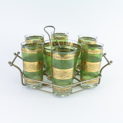 Mid-Century Culver Glass Cocktail Set with Ice Bucket