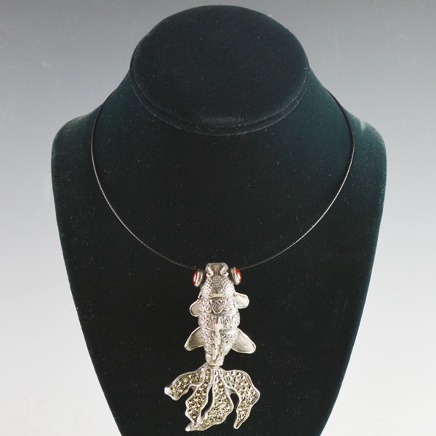 pendant koi lucky silver necklace p mens sterling fish s novica men