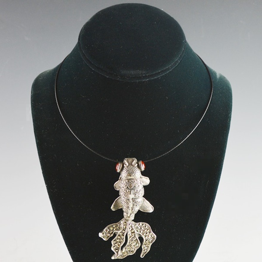 charm necklace koi arista charms fish pendants sterling silver and shop enhancer small pendant