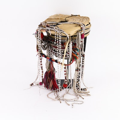Southeast Asian Headdress with Iron Stand
