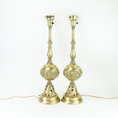 Pair of Tall Decorative Brass Lamps
