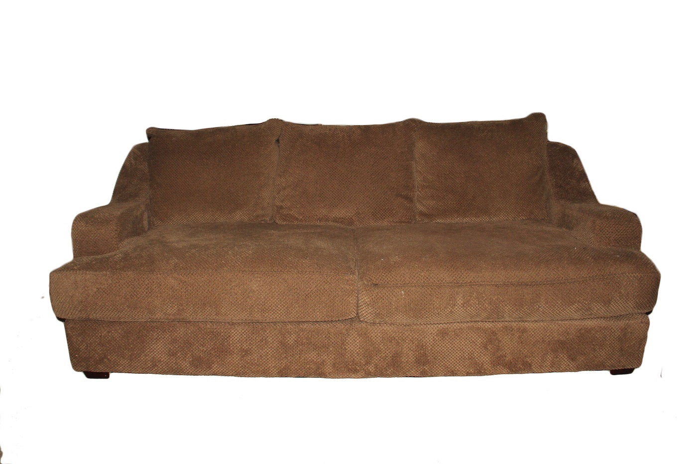 Throw Pillows For Dark Green Sofa : Dark Beige Textured Upholstered Sofa with Throw Pillows : EBTH