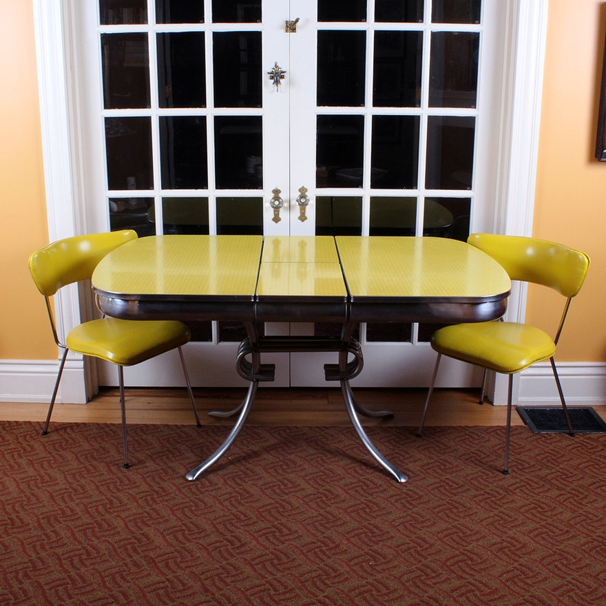 Retro 1950s Era Yellow Formica And Chrome Dining Table With Chairs Ebth