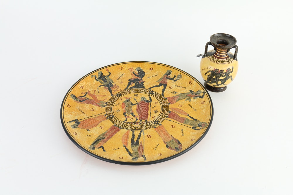 Greek Vase and Platter Set