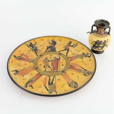 Greek Vase and Platter Set