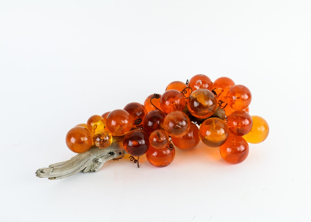 Vintage Orange Acrylic Grapes on Wood