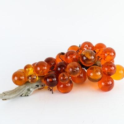 Vintage Orange Acrylic Grapes on Wood