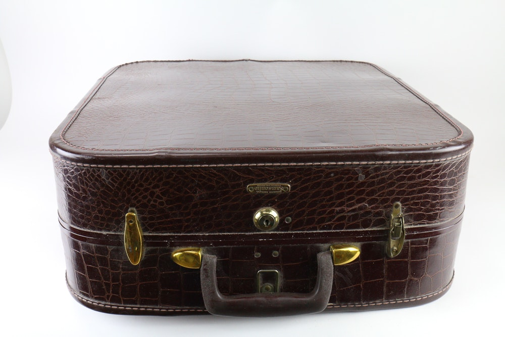 Vintage Faux Alligator Skin Suitcase