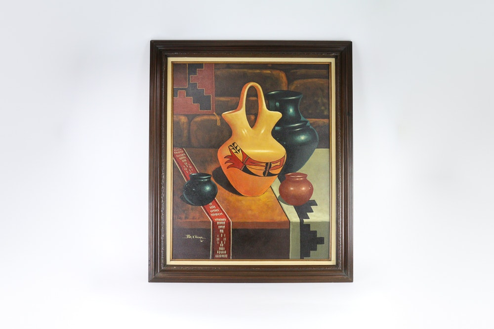 Framed and Signed Oil on Canvas of a Southwstern-Themed Still Life by Peter K Williams