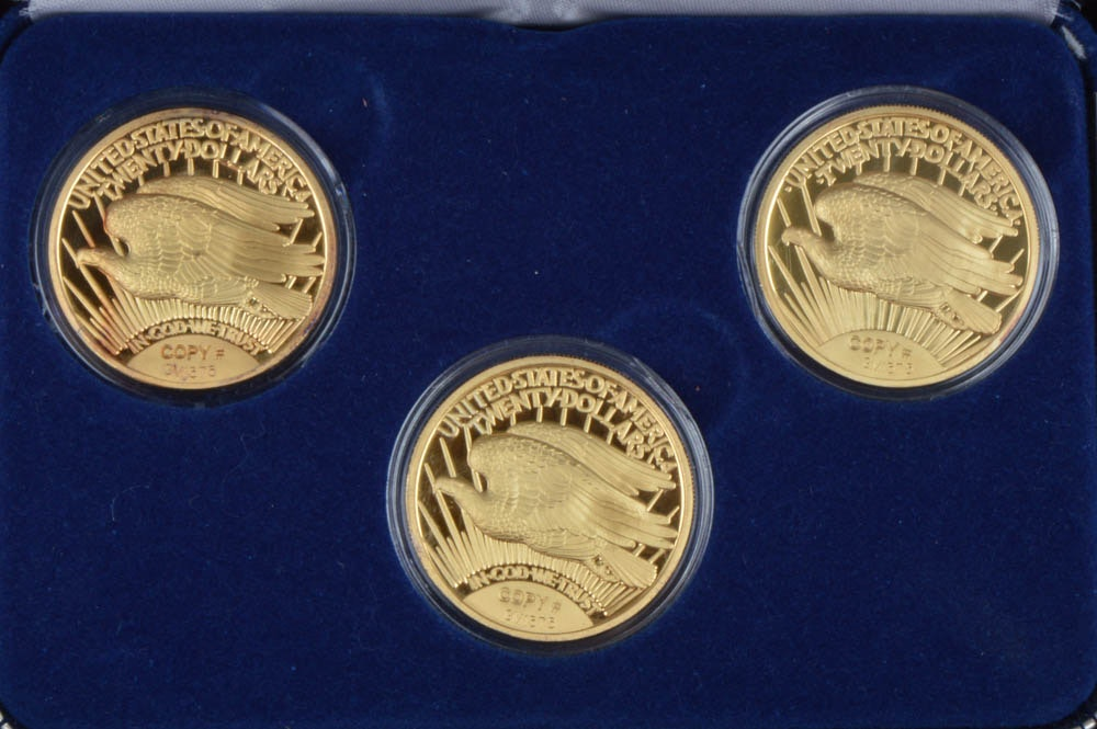Eagle Auto Sales >> Set of Three 1933 Gold Double Eagle Proof Replica Coins : EBTH