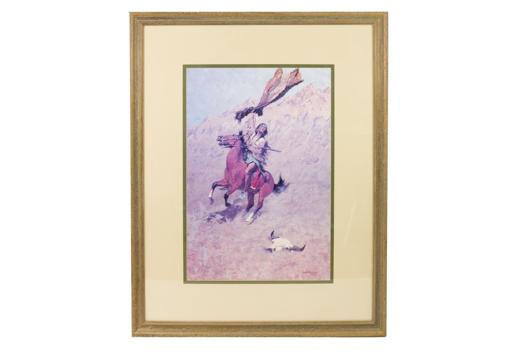 "Framed ""The Scout"" After Frederic Remington"