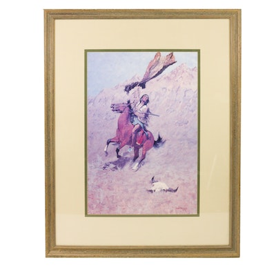 """Framed """"The Scout"""" After Frederic Remington"""