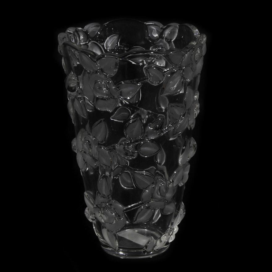 Mikasa Bella Rose Frosted Crystal Vase Ebth