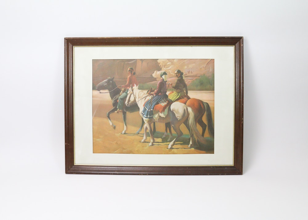 Framed Print of Native Americans on Horseback